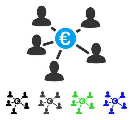 Euro Social Links flat vector icon. Colored euro social links gray, black, blue, green pictogram versions. Flat icon style for web design. Illustration