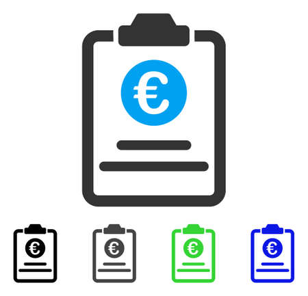 treaty: Euro Prices Pad flat vector icon. Colored euro prices pad gray, black, blue, green icon variants. Flat icon style for web design. Illustration