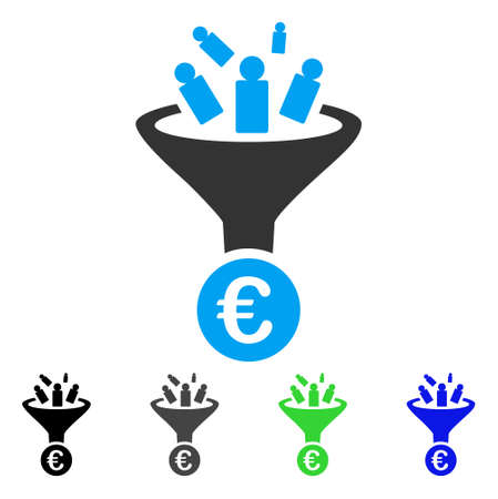 Euro Sale Conversion flat vector pictogram. Colored euro sale conversion gray, black, blue, green pictogram versions. Flat icon style for application design.