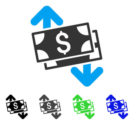 Banknotes Spending flat vector illustration. Colored banknotes spending gray, black, blue, green pictogram versions. Flat icon style for web design.