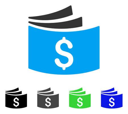 Libreta de cheques ilustración vectorial plana. Libro de cheques de color gris, negro, azul, verde versiones de pictograma. Estilo de iconos planos para el diseño gráfico. Foto de archivo - 83025409