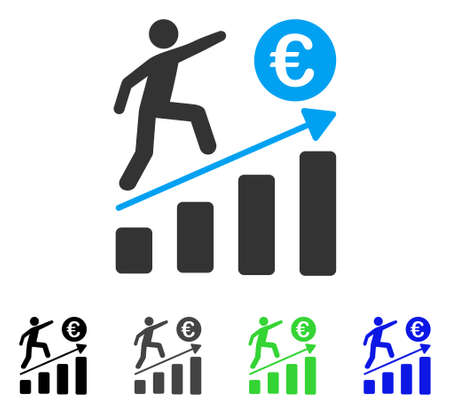 Euro Business Growth flat vector illustration. Colored euro business growth gray, black, blue, green pictogram variants. Flat icon style for graphic design.