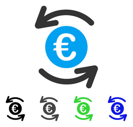 Update Euro Balance flat vector illustration. Colored update euro balance gray, black, blue, green pictogram variants. Flat icon style for application design.