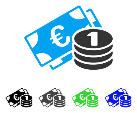 Euro Cash flat vector icon. Colored euro cash gray, black, blue, green pictogram variants. Flat icon style for web design.
