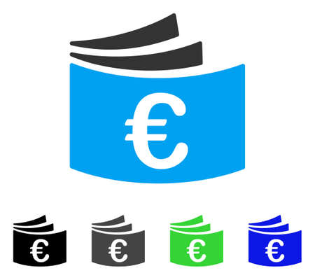 Euro Checkbook flat vector icon. Colored euro checkbook gray, black, blue, green pictogram versions. Flat icon style for web design. Illustration