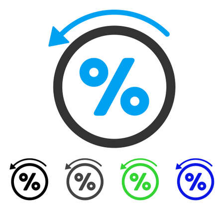 Rebate Percent flat vector pictograph. Colored rebate percent gray, black, blue, green icon variants. Flat icon style for application design. Illustration