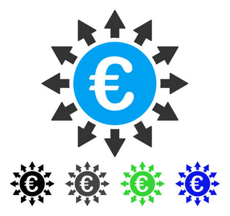 give out: Euro Payments flat vector pictograph. Colored euro payments gray, black, blue, green pictogram versions. Flat icon style for application design.