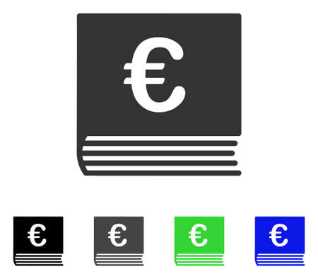 Euro Sales Book flat vector illustration. Colored euro sales book gray, black, blue, green pictogram variants. Flat icon style for web design.