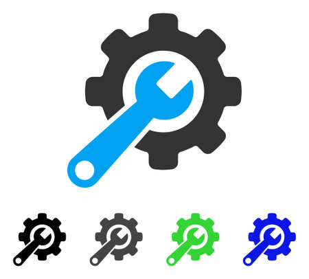 Tools flat vector illustration. Colored tools gray, black, blue, green icon versions. Flat icon style for web design.