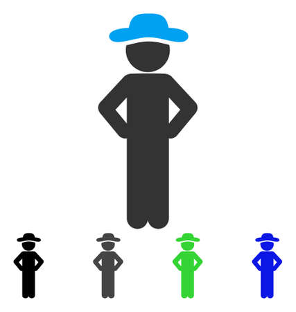 Gentleman Akimbo flat vector pictograph. Colored gentleman akimbo gray, black, blue, green icon versions. Flat icon style for application design.