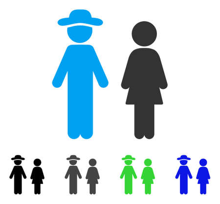 Gentleman And Lady flat vector pictogram. Colored gentleman and lady gray, black, blue, green icon versions. Flat icon style for application design.