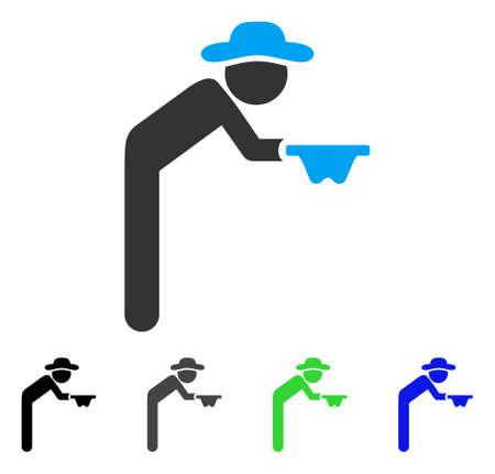 Gentleman Beggar flat vector icon. Colored gentleman beggar gray, black, blue, green pictogram versions. Flat icon style for web design.