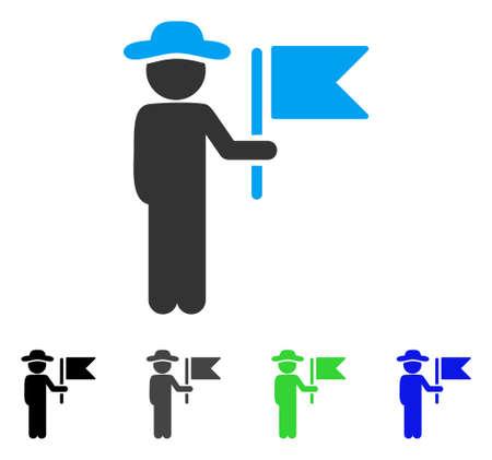 Gentleman Commander flat vector illustration. Colored gentleman commander gray, black, blue, green icon variants. Flat icon style for graphic design.