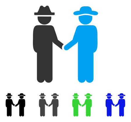 Gentleman Handshake flat vector pictograph. Colored gentleman handshake gray, black, blue, green icon versions. Flat icon style for application design.