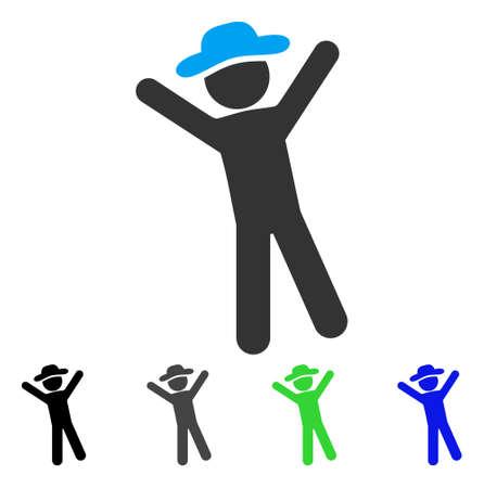 Gentleman Joy flat vector pictograph. Colored gentleman joy gray, black, blue, green icon versions. Flat icon style for web design.