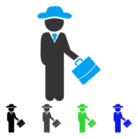 Gentleman Manager flat vector illustration. Colored gentleman manager gray, black, blue, green icon variants. Flat icon style for application design. Illustration