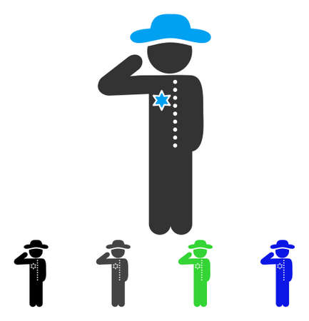 Gentleman Officer flat vector illustration. Colored gentleman officer gray, black, blue, green pictogram variants. Flat icon style for graphic design. Illustration
