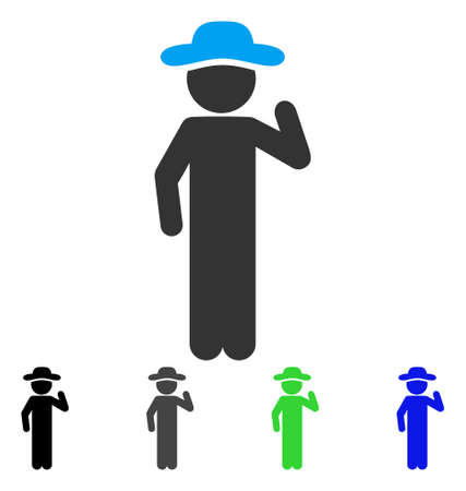 Gentleman Opinion flat vector pictogram. Colored gentleman opinion gray, black, blue, green icon variants. Flat icon style for application design.
