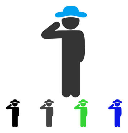 Gentleman Salute flat vector pictograph. Colored gentleman salute gray, black, blue, green pictogram variants. Flat icon style for graphic design.