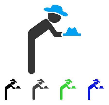Gentleman Servant flat vector icon. Colored gentleman servant gray, black, blue, green pictogram versions. Flat icon style for graphic design.