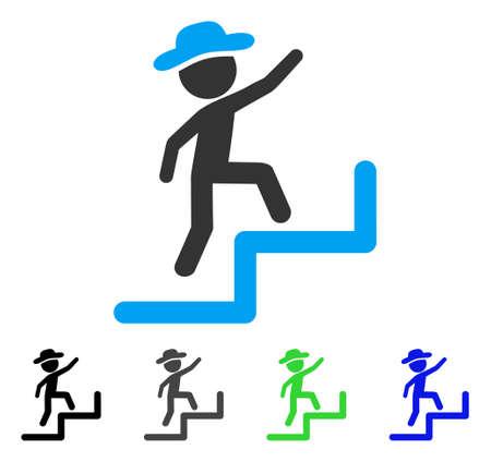 Gentleman Steps Icône d'icône plate à l'étage. Un gentleman coloré marche en haut des versions gris, noir, bleu, icône verte. Style d'icône plat pour la conception de l'application. Vecteurs
