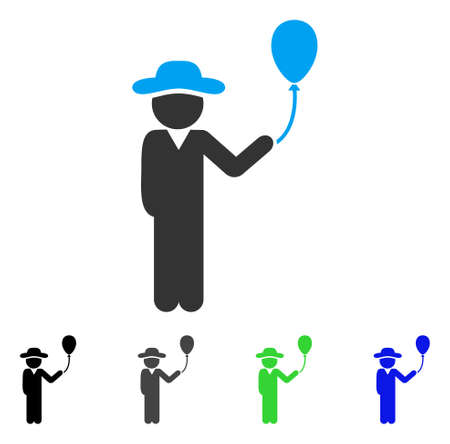 Gentleman With Balloon flat vector pictogram. Colored gentleman with balloon gray, black, blue, green icon versions. Flat icon style for web design. Illustration