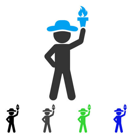 Gentleman With Freedom Torch flat vector pictograph. Colored gentleman with freedom torch gray, black, blue, green icon variants. Flat icon style for graphic design.