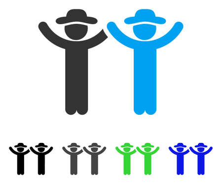 Hands Up Gentlemen flat vector pictogram. Colored hands up gentlemen gray, black, blue, green pictogram variants. Flat icon style for web design.