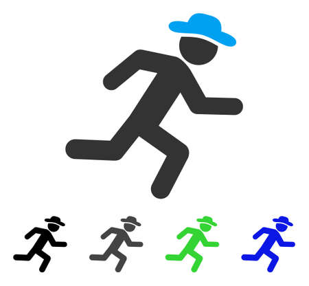 Running Gentleman flat vector icon. Colored running gentleman gray, black, blue, green pictogram versions. Flat icon style for graphic design.