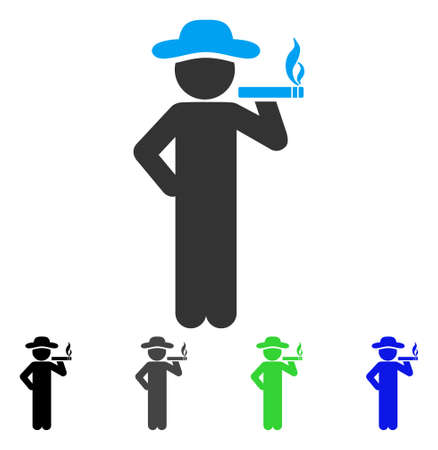Smoking Gentleman flat vector pictogram. Colored smoking gentleman gray, black, blue, green pictogram variants. Flat icon style for graphic design. Illustration