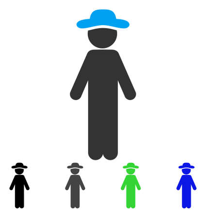 Standing Gentleman flat vector pictograph. Colored standing gentleman gray, black, blue, green pictogram versions. Flat icon style for application design. Stock Vector - 82973031