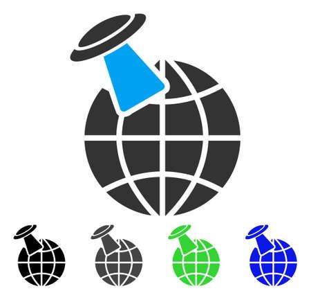 platillo volador: Alien Visit flat vector icon. Colored alien visit gray, black, blue, green icon variants. Flat icon style for web design.