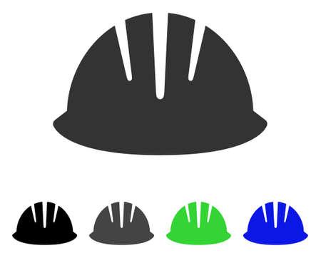 beware: Builder Helmet flat vector pictograph. Colored builder helmet gray, black, blue, green pictogram variants. Flat icon style for application design.