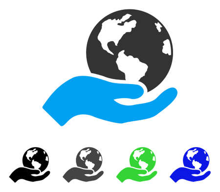 Earth Care flat vector icon. Colored earth care gray, black, blue, green pictogram variants. Flat icon style for web design.