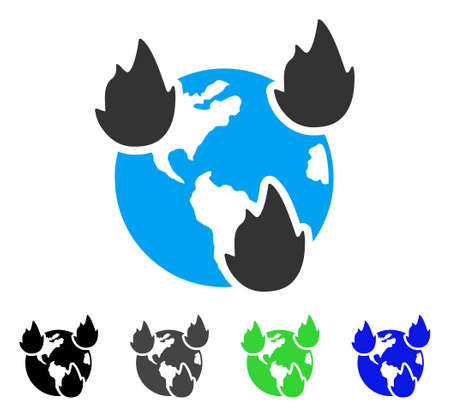 Earth Disasters flat vector illustration. Colored earth disasters gray, black, blue, green pictogram versions. Flat icon style for web design. Illustration
