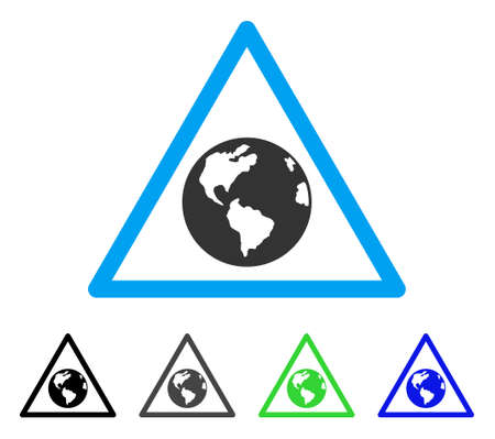 Earth Warning flat vector icon. Colored earth warning gray, black, blue, green pictogram variants. Flat icon style for web design. Illustration