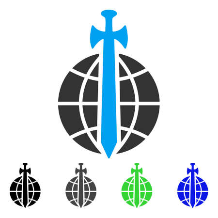 Global Guard flat vector icon. Colored global guard gray, black, blue, green icon versions. Flat icon style for application design.