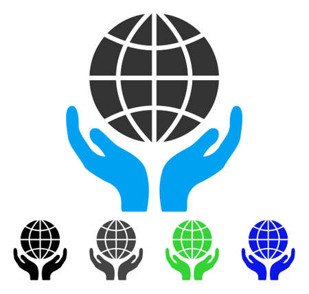 Global Hands flat vector icon. Colored global hands gray, black, blue, green icon variants. Flat icon style for application design.