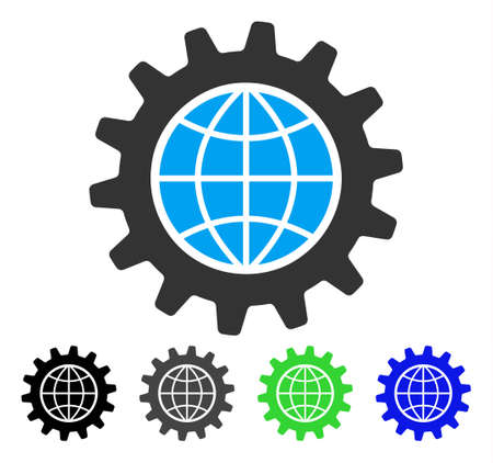 Global Options flat vector pictograph. Colored global options gray, black, blue, green icon variants. Flat icon style for graphic design.