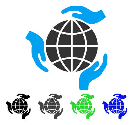 Global Protection flat vector pictograph. Colored global protection gray, black, blue, green pictogram versions. Flat icon style for web design. Illustration