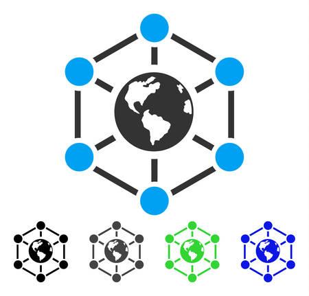 総: 世界中のインターネット フラット ベクトル イラスト。色の世界的なインターネット灰色、黒、青、緑のピクトグラムの亜種。Web デザインのフラッ