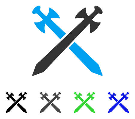 Medieval Swords flat vector icon. Colored medieval swords gray, black, blue, green pictogram versions. Flat icon style for application design.