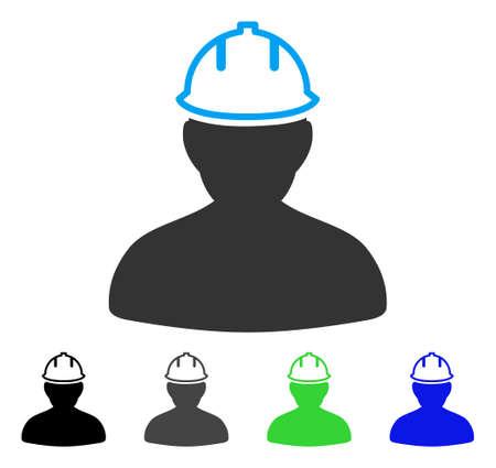 Persoon in bouwvakker platte vectorillustratie. Gekleurde persoon in versies van veiligheidsvouchen grijs, zwart, blauw, groen. Platte pictogramstijl voor applicatieontwerp.