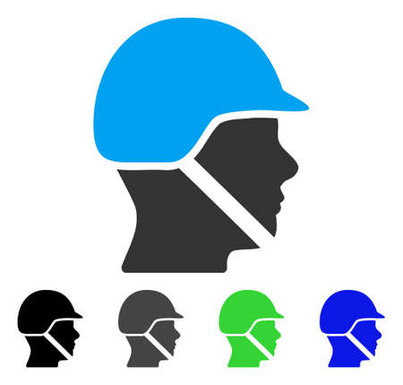 Soldier Helmet flat vector illustration. Colored soldier helmet gray, black, blue, green icon variants. Flat icon style for graphic design.