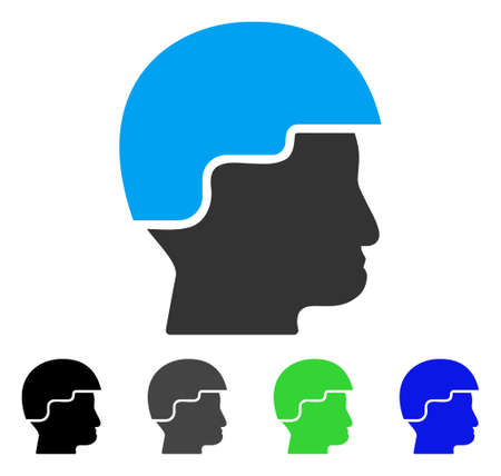 Soldier Helmet flat vector illustration. Colored soldier helmet gray, black, blue, green icon versions. Flat icon style for graphic design. Illustration
