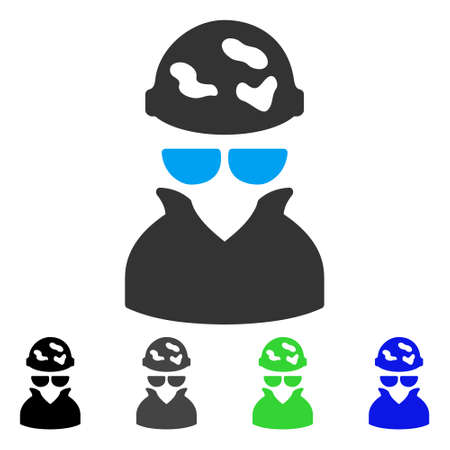 Spotted Spy flat vector illustration. Colored spotted spy gray, black, blue, green pictogram versions. Flat icon style for web design. Banco de Imagens - 82972294