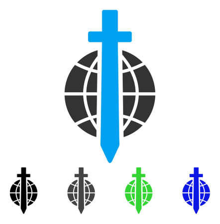 Sword Globe flat vector pictograph. Colored sword globe gray, black, blue, green icon versions. Flat icon style for graphic design. Illustration