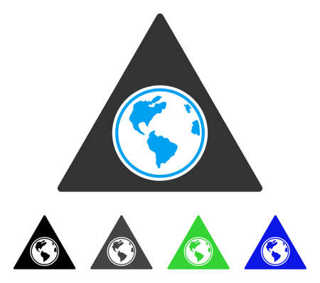 Terra Triangle flat vector pictogram. Colored terra triangle gray, black, blue, green pictogram versions. Flat icon style for application design.