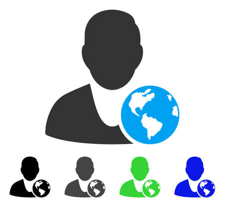 International Manager flat vector pictogram. Colored international manager gray, black, blue, green pictogram variants. Flat icon style for web design.
