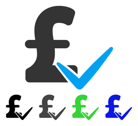 Accept Pound flat vector pictograph. Colored accept pound gray, black, blue, green pictogram versions. Flat icon style for graphic design. Illustration